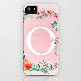 Flower Wreath with Personalized Monogram Initial Letter O on Pink Watercolor Paper Texture Artwork iPhone Case