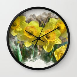 Watercolor Daffodils Wall Clock