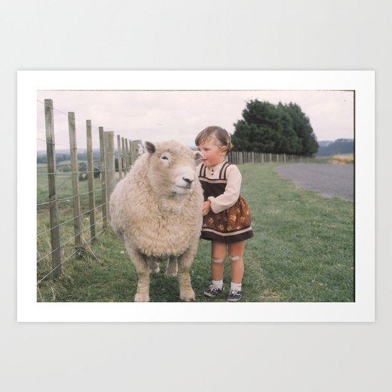 Sheep girl Art Print
