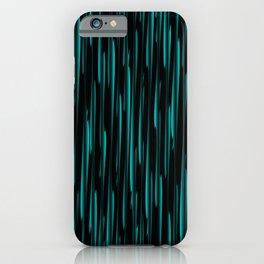 Vertical cross light blue lines on a dark tree. iPhone Case
