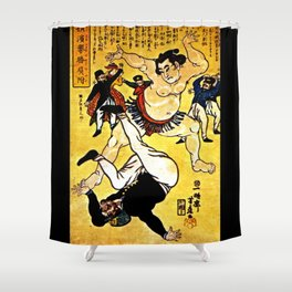 Foreigner and Wrestler at Yokohama Shower Curtain