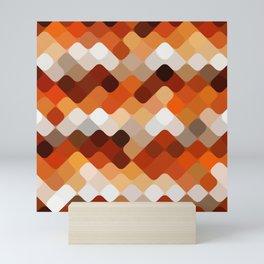 Cool Hip Orange Round Squares Mosaic Art Pattern Mini Art Print