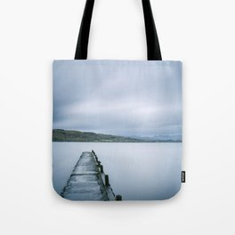 Jetty on Lake Windermere with Langdale Pikes beyond. Millerground Landing, Lake District, UK. Tote Bag