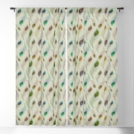 Colorful Array Of Peacock Feathers Blackout Curtain