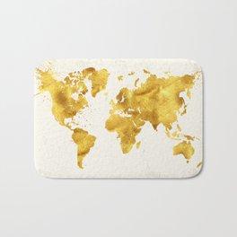 24 Karat World, faux gold world map Bath Mat