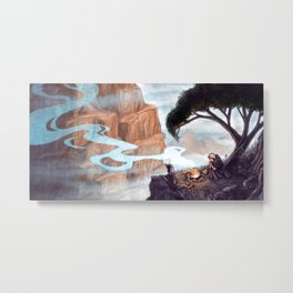 Mist-Covered Mountain Metal Print