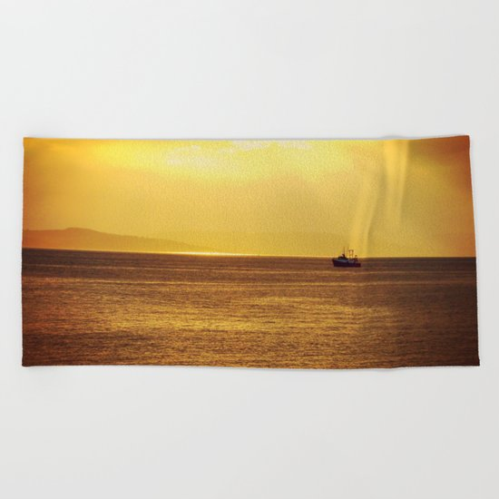 Going Fishing at sunset Beach Towel