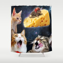 Cats and the mouse on the cheese Shower Curtain