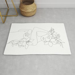 Minimal Line Art Woman with Flowers VI Rug