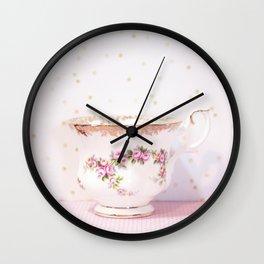Pink Rose Teacup Wall Clock