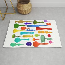Mid Century Modern Colorful Glass Vases Rug