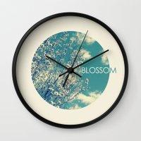 blossom Wall Clocks featuring Blossom by Volkan Dalyan