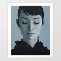 audrey Art Prints featuring Audrey by yurishwedoff