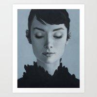 audrey Art Prints featuring Audrey by yurishwedoff