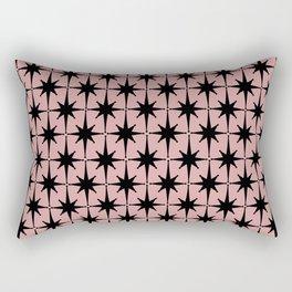 Atomic Age 1950s Retro Starburst Pattern in Black and 50s Dusty Blush Pink Rectangular Pillow
