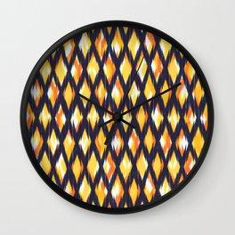 dark diamond ikat texture on yellow ground Wall Clock