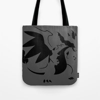 charizard Tote Bags featuring Charizard Mega X by Ruo7in