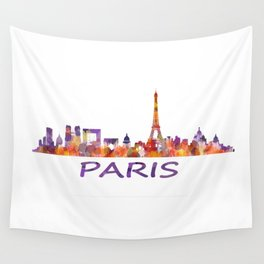 París City Skyline HQ Watercolor Wall Tapestry