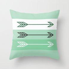 Arrows 3 Mint Throw Pillow