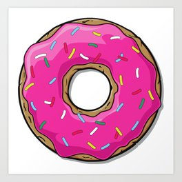 Pink Donut with Sprinkles - Pink Blue Yellow Art Print