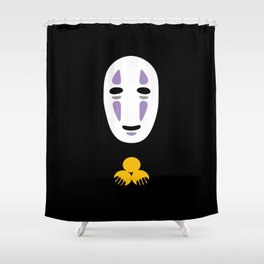 No Face Giving Gold Shower Curtain