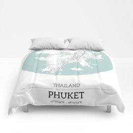 Phuket Thailand City Map with GPS Coordinates Comforters