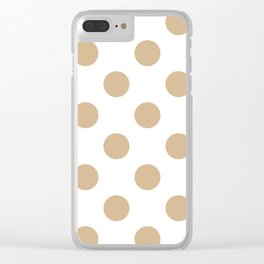 Large Polka Dots - Tan Brown on White Clear iPhone Case