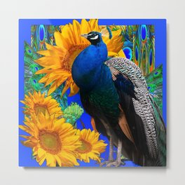 BLUE PEACOCK & GOLDEN SUNFLOWERS BLUE ART Metal Print
