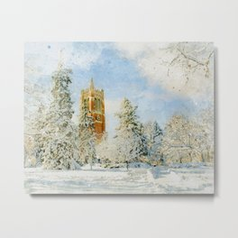 Beaumont Tower in Winter at Michigan State University Metal Print