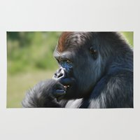 gorilla Area & Throw Rugs featuring Gorilla by Julie Hoddinott