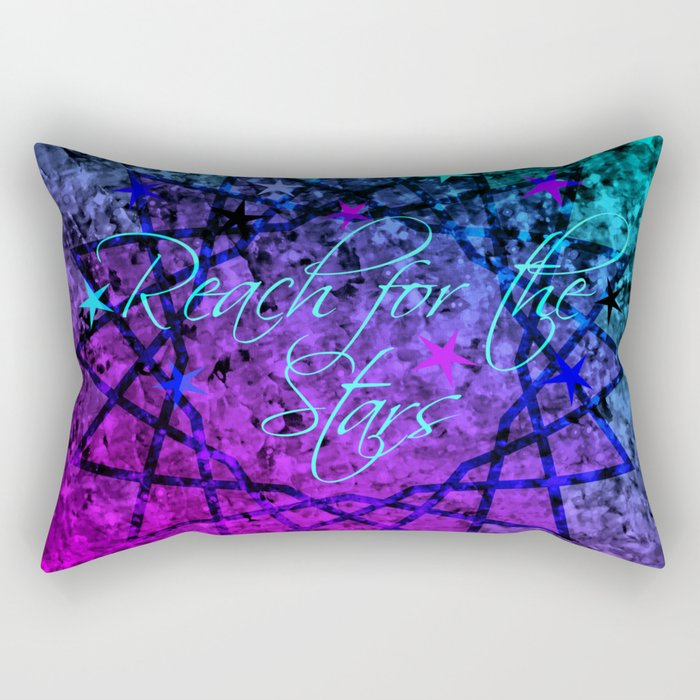 REACH FOR THE STARS Bold Midnight Blue Purple, Galactic Stars Space Abstract Fine Art Painting Rectangular Pillow