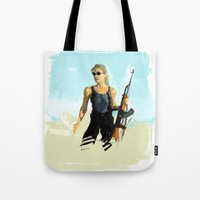 terminator Tote Bags featuring TERMINATOR by Erased Account