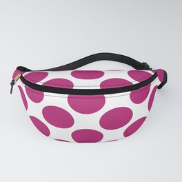 Bright berry pik and white large polka dots pattern Fanny Pack