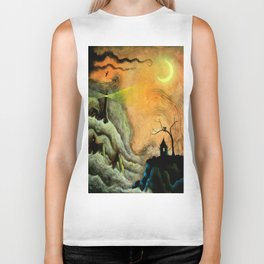 Lighthouse in the Stormy Sea Biker Tank
