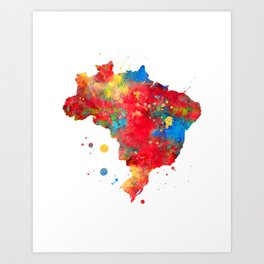 Brazil Map Watercolor Painting Art Print