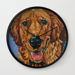 Coper the Golden Retriever Dog Portrait Wall Clock