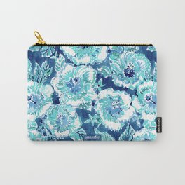 HIBISCUS BOUNTY Blue Tropical Watercolor Carry-All Pouch