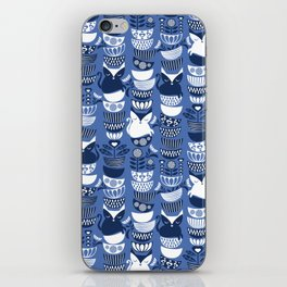 Swedish folk cats I // Indigo blue background iPhone Skin