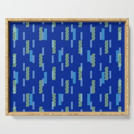 pixel brick geometric pattern_blue02 Serving Tray