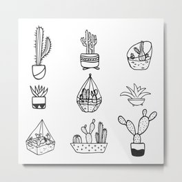 Minimalist Cacti Collection Black and White Metal Print