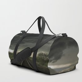 Give Me Shelter - Storm Over Railroad Tracks in Kansas Duffle Bag