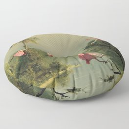 Spoonbills in the Mist Floor Pillow