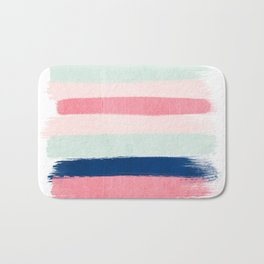 Painted stripes trendy color palette minimal striped decor nursery home Bath Mat