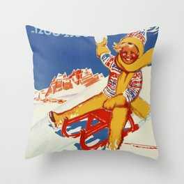 Cortina Vintage Italian travel winter sport Throw Pillow