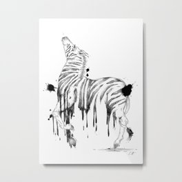 Dripping Zebra Metal Print