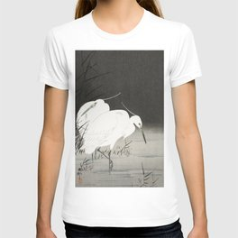 Egrets in the lake - Japanese vintage woodblock print T-shirt