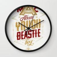 beastie boys Wall Clocks featuring ∞ Adam Yauch • No way! I'm a Beastie Boy ∞ by Fabio Persico