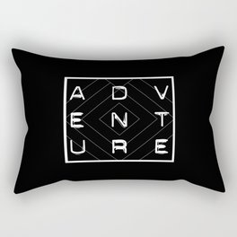 ADVENTURE Black and White Dynamoe Typography and Geometric Print Rectangular Pillow