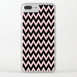 Zig Zag Chevron Black & pink waves pattern Clear iPhone Case