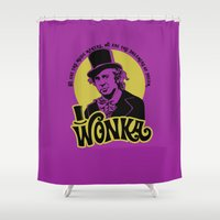 willy wonka Shower Curtains featuring Willy W quote by Buby87